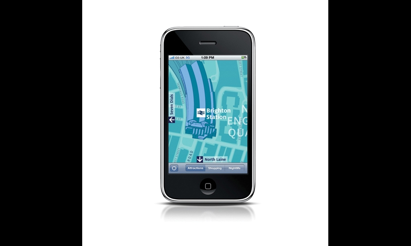 Graphics for the WalkBrighton iPhone app were designed to be consistent with the system's signage and print components.