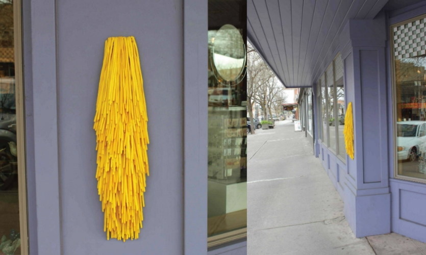 Fig. 11. Mini installation on the exterior of the Prichard Art Gallery to invite and allow outdoor interaction