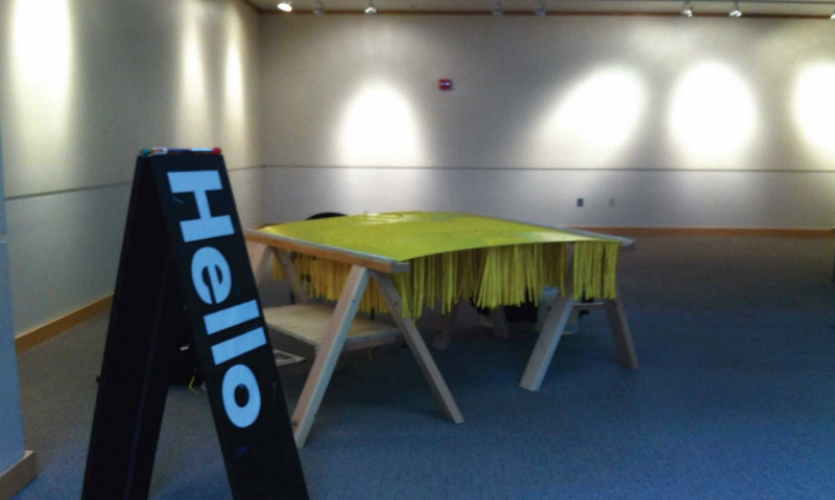 "Fig. 5. ""Hello"" balloon bees in University of Idaho Commons"