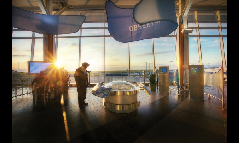 Vancouver International Airport's Observation Area has become a popular destination for airport visitors. It was designed in response to visitors' requests for more information about airport operations. (Photo: Ben West)