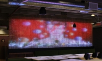 """Shimmer Wall"", shimmer bead wall with embedded video, Staff Cafe, San Francisco"