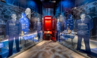 Layered installations highlight key human intelligence figures along with their intriguing spy gadgets, creating a world of spy stories to illuminate a different perspective on history. (image: larger-than life depictions of spies)