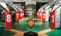 Pennet-Shaped Exhibit Walls, Glory Days: New York Baseball 1947-1957, Museum of the City of New York, Pentagram