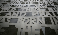 Close-Up of Lettering, Nativity, City of Melbourne, emerystudio
