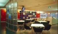 Curved Wall Dividing Café from Training Rooms, Thinkspace, Macquarie Bank, Emery Vincent Design