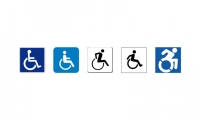02: (left to right) Original ISA (International Symbol of Access (1968), ADA-compliant (Whitehouse/Meeker, early 80's), tipsy 'In-motion' version (Brendan Murphy, 1986), 'jumping over a barrel' in-motion variant (with foot), AIP (2012).