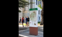 Pedestrian directories at the University of Utah include campus maps oriented to the newly defined neighborhoods.