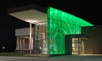 Lit Glass Wall in Green, First National Bank, Metro Crossing Branch, RDG Planning & Design