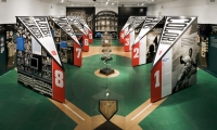 Pennet-Shaped Exhibit Walls and Ball Cases, Glory Days: New York Baseball 1947-1957, Museum of the City of New York, Pentagram