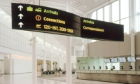 Overhead Directional Signage, Lester B. Pearson International Airport, Greater Toronto Airport Authority, Pentagram