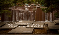 Ira Keller Fountain – A vinyl supergraphic event title announces the starting point as participants move upstream toward the Source Fountain.