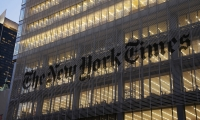 Logo at Night, The New York Times Building Façade, Forest City Ratner Companies, Pentagram