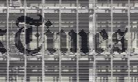 Close-up View of Logo, The New York Times Building Façade, Forest City Ratner Companies, Pentagram