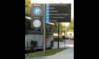 Parking and Directional Sign, Texas Medical Center Wayfinding Master Plan, fd2s Inc.