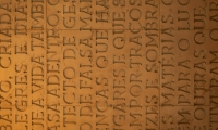Detail of Carved Text, Casa do Conto (House of Tales), R2 Design