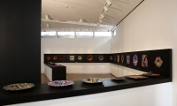 Exhibit Table, Klaus Moje: Paintings in Glass, Museum of Arts and Design, Wendy Evans Joseph Architecture