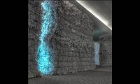 Detail of Light on Paper Bales, NeoCon East Installation, Merchandise Mart, Gensler
