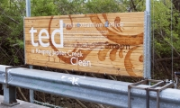 Informational Signage, Dis(solve): The Japhet Creek Project, Greater East End Mgmt District, City of Houston Dept of Parks and Rec, Buffalo Bayou Partnership, Univ of Houston Studio Collaboration