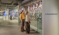 'In Remembrance' offers visitors a space for quiet reflection. Photos of 9/11 victims displayed on the walls were donated by their families.