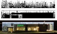 Full Depiction of Wall Graphics, First National Bank, Metro Crossing Branch, RDG Planning & Design