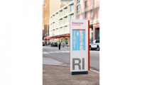 The kiosks—placed near the main entry points to RI provide the two views of the island and immediate area, which display key contextual information about restaurants, retailers, residential buildings, public amenities and more.