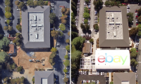 The Main Street building now features a notable branding addition: a rooftop logo, visible from the air and, of course, Google Maps, where the Main Street building is now listed as eBay's official HQ.
