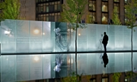 Forty-eight individual panels, made of five layers of ¾-inch Starphire glass, capture the voices of disabled veterans.