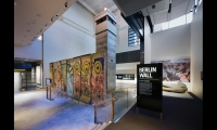 Among the Newseum's artifacts are actual sections of the Berlin Wall. Interpretive panels are made of porcelain enamel for upscale durability.