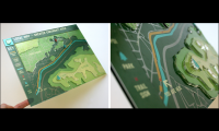 Instead of a flat map, this topographic prototype reflects Cincinnati's hilly terrain and therefore offers more pertinent trail information. Its innovative design is made from layered acrylic with metallic clear vinyl application, modeling painted aluminu