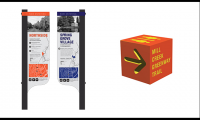 This district sign (left) shows a front and back view along with unique directional cubes (right). Designs by Allison Ballweg and Mary Sandmann with Colleen Butler and Madison Hall.