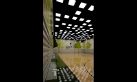 Tree murals on the walls of the basketball court bring nature indoors.