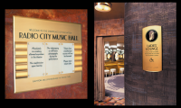 Signage using a custom typeface and pictograms for the renovation of Radio City Music Hall, New York, NY (Two Twelve)