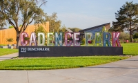 This monument sign at Cadence Park in Irvine, California (RSM Design) marks the entrance of one of many parks within the Great Park Neighborhoods. (Image by Allison Richter Photography.)