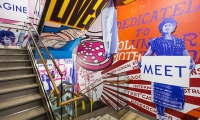 A large-scale installation that spotlights Planned Parenthood's dynamic history has been designed and installed at the organization's new national headquarters in New York.