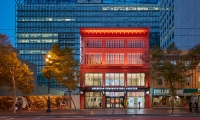 Essential modern theater and architectural elements define the revitalized theater's identity upon the street frontage.