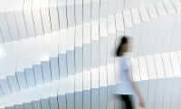 """A dramatic feature-wall provides the backdrop to an agile workplace's """"innovation zone."""""""