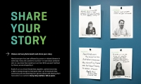 """The """"Share Your Story"""" graphic wall panel with """"I'm here because"""" response cards."""