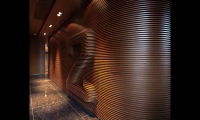 Floor lobbies feature super-scaled level numbers that rise organically from ribbed wood and concrete-look wall treatments.