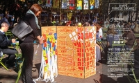 KIOSKS: Simple, readily available materials and spray paint graphics made up (8) easily moved kiosks with tags and instructions.