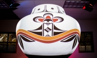 The pot with a 360 projection mapping showing rainbows and raindrops drawn from traditional Acoma pueblo designs.