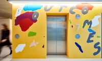 Four local artists were each commissioned to produce an in situ wall work that wrapped one of the lift cores.