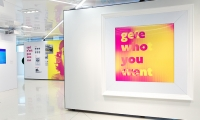 Get what you want. Give who you are. This six-foot-tall lenticular shifted the question onto the viewer: Is your personal brand worth it?
