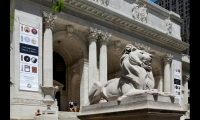 Guarded by its iconic marble lions, the New York Public Library celebrated the 100th anniversary of its main branch in 2011 with the Celebrating 100 Years exhibition designed by Pentagram.