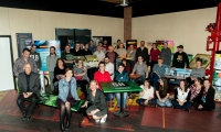 The SH Immersive Environments team pose for a group photo.