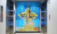Electric Coffin created this Space Needle-themed mural at Via6, a hip new rental community in downtown Seattle.