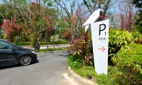 Parking direction sign with bird motif