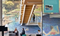 A two-story graphic in Oracle's Waterfront dining area turns a 1930s postcard into a larger-than-life op-art view of Barton Springs, one of Austin's legendary swimming holes.