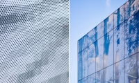 LEFT: Close-up view of pixelated façade. RIGHT: Detail view of the façade at Interface Inc.'s Midtown Atlanta headquarters.