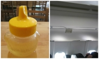Fig. 6. While their functions are quite different, the honey bear and overhead airplane storage compartment share visual cues affected by lighting and tactile surface changes.