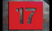 16- by 16-in. magnetic signs witih waterjet-cut numbers can be changed quickly as bins are filled and emptied.